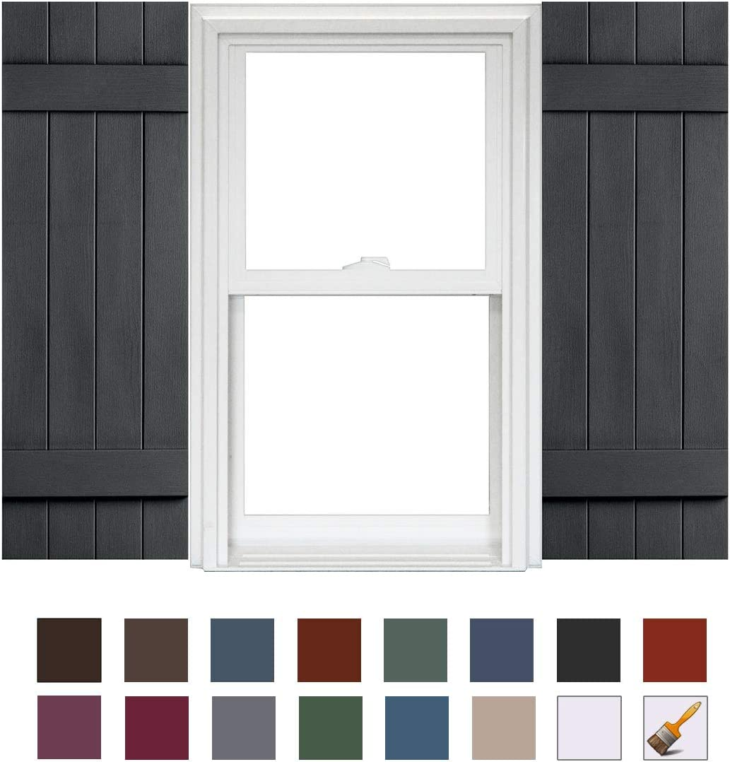 Homeside 4 Board and Batten Joined Shutter 1 Pair 14-1//2in x 55in 730 Sandstone