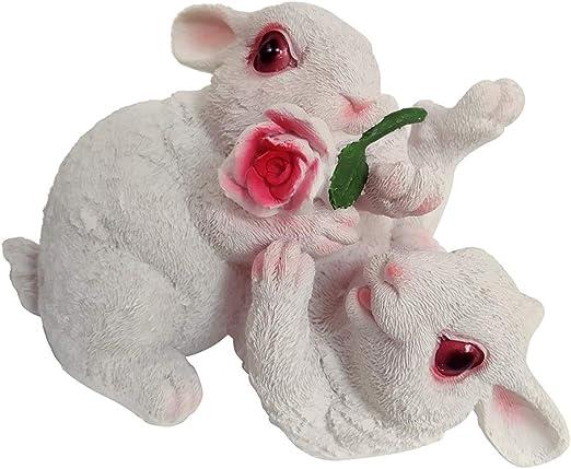 Animales Artificiales Conejos Estatuas para Jardín, Figuras de Animales de Juguete para Niños - Flor_blanco: Amazon.es: Hogar