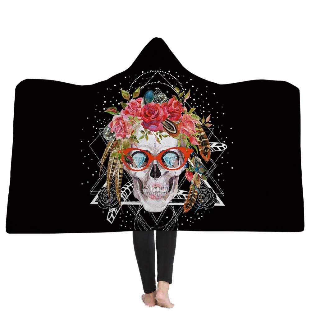 Sch/ädel mit Kapuze Decke Winter Mantel f/ür Frauen M/änner Kinder warme Quilt super weiches Material