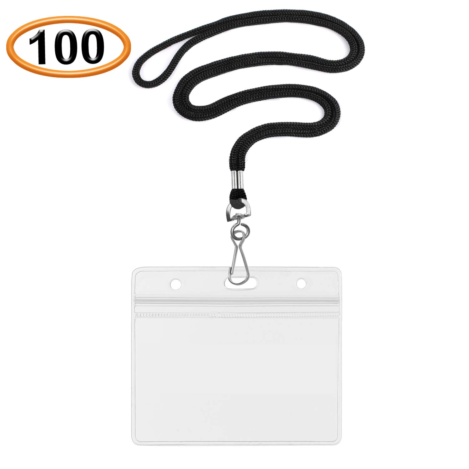 Summerhouse 100 Pack Transparent Plastic ID Name Tags Badge Holder and Woven 36'' Lanyard - Horizontal Fit 3.5x2.25'' Card - for Women Kids Men Students Police Nurse Employees