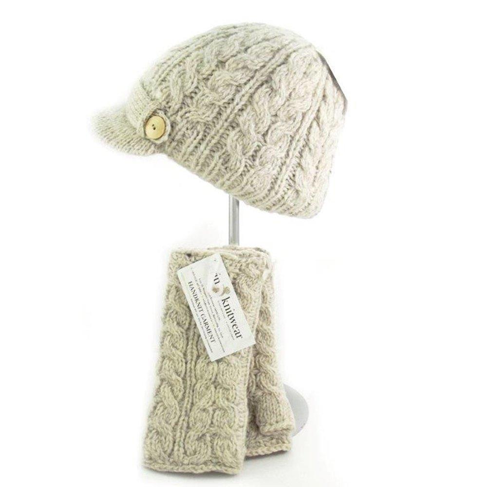 Traditional Aran Knit Oatmeal Handwarmer by Irish Erin Knitwear