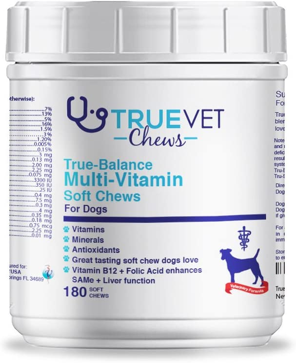 True-Balance Multi-Vitamin Heart Shaped Soft Chews for Dogs – 60 Count 180 Count