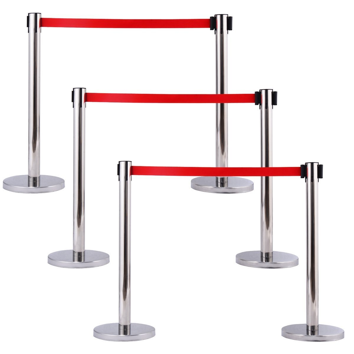 Comie Stanchion Set w/ Red Retractable Belt Posts Queue Pole Crowd Control Barrier (6)