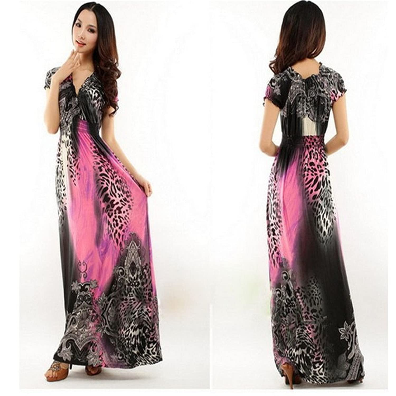 C&L New Girls Summer Beach Dresses Leopard Long Maxi Dress at Amazon Womens Clothing store: