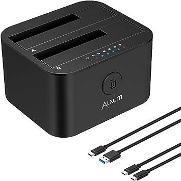 Alxum Estación de Acoplamiento de Disco Duro USB C y USB A, Caddy de Disco Duro