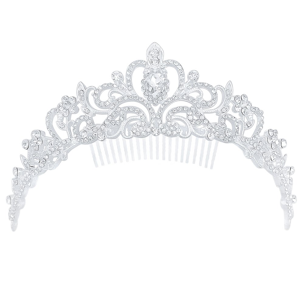 Fashion Women Bling Crystal Bridal Princess Tiara Crown Hair Comb for Weddings Parties Proms by Generic