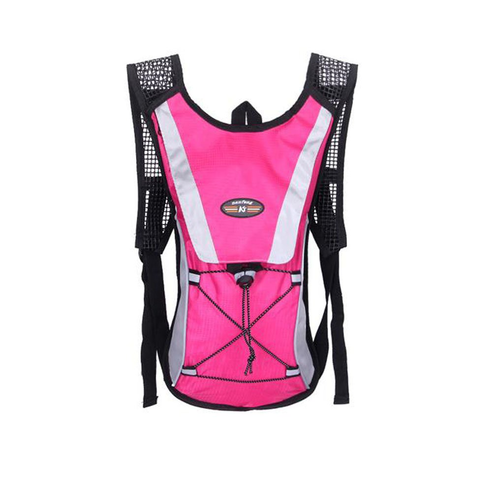 OCSOSO Hydration Pack with 2l Backpack Water Bladder Bike Bag Climbing Pouch Water Rucksack Pink for Hiking, Biking, Running, Walking and Climbing