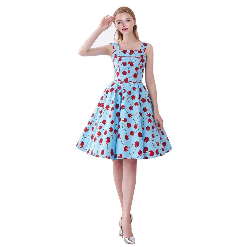 FiftiesChic Shoulder Straps 100% Cotton Polka Dot Floral 50s Vintage Rockabilly Swing Dress (Large, Blue Cherries)