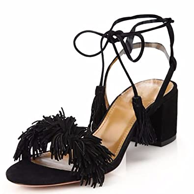 Jushee Womens Lace Up Block Heel Fringed Suede Dress Sandals