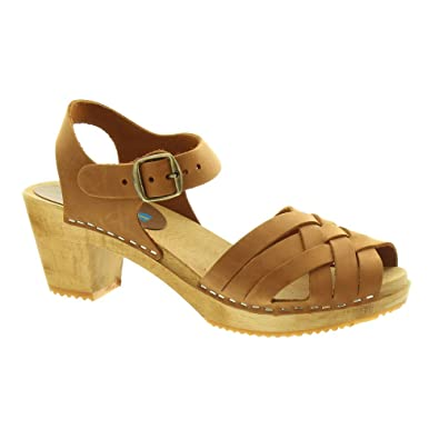 3d42844017bf0 Moheda - Womens Betty Clog Sandals In Cognac: Amazon.co.uk: Shoes & Bags
