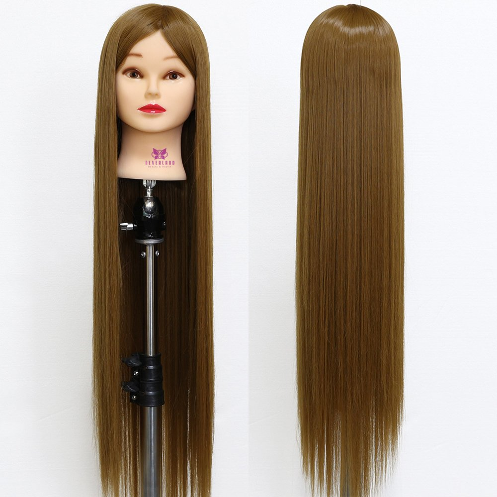 Neverland Beauty 30 Inch 100% Synthetic Fiber Hair Hairdressing Cosmetology Training Head Mannequin Dolls Head with Clamp Stand