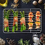 """Baking Cooling Rack Set of 2, E-far Stainless Steel Metal Roasting Cooking Racks, Size - 9.7""""x7.3"""", Non Toxic & Rust Free, Fit for Small Toaster Oven, Dishwasher Safe"""