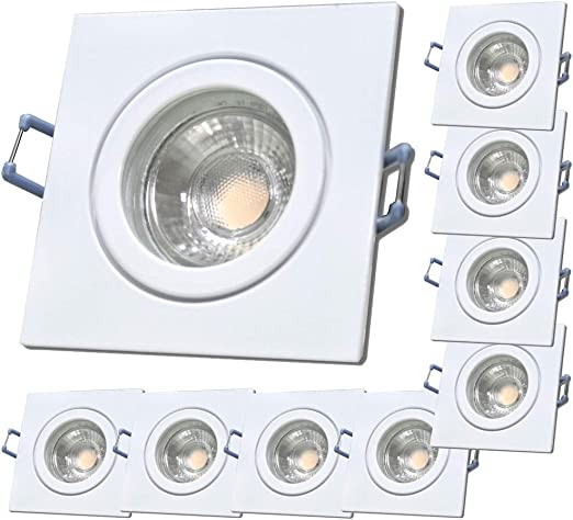 1 x 3W LED LM Farbe BiColor IP44 LED Einbauleuchte Neptun Eckig 4000K Deckenspot LED Bad Einbaustrahler 12V inkl