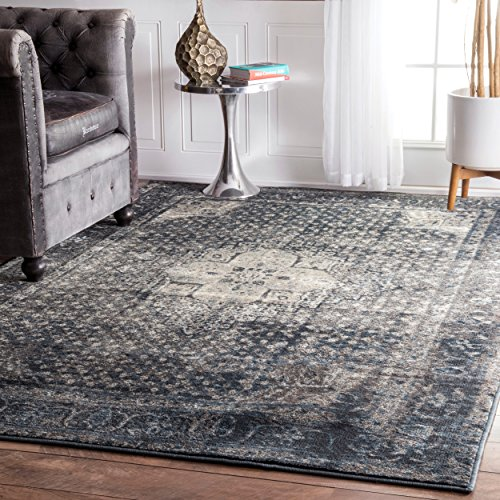 Traditional Vintage Inspired Overdyed Fancy Blue Area Rugs, 5 Feet 3 Inches by 7 Feet 8 Inches (5' 3