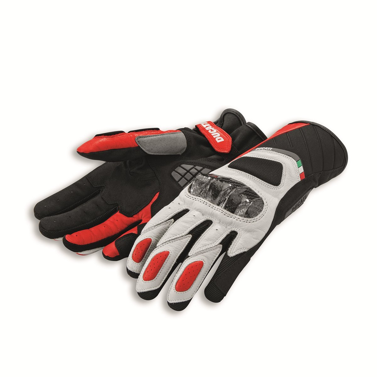 Ducati Sport C3 Leather-fabric gloves 9810370 (M, White/Black)