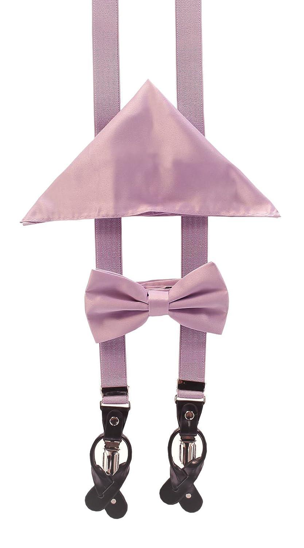 "1/"" Skinny Convertible Gift Men/'s Suspender Set MULTI COLORS w//Bow Tie /& Hankie"
