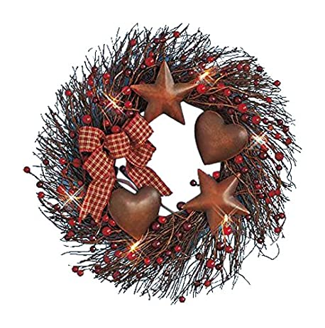 Lighted Battery Operated Primitive Country Metal Hearts Berries Plaid Bow  Wall Door Hanging Decor Wreath