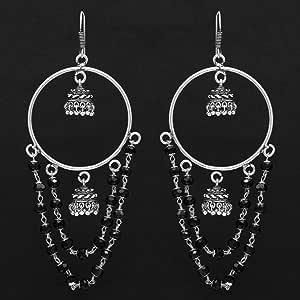 Black Color Oxidised Hoop Earrings
