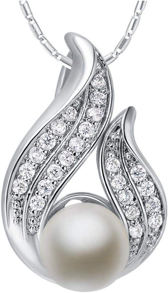 Urna Cremación Memorial La Perla del Collar de Plata Plateado Negro Modelo de Diseño, Color: Blanco Zirconia Cremation Jewelry Collar con Colgante de Acero Ino (Color : White Zirconia)