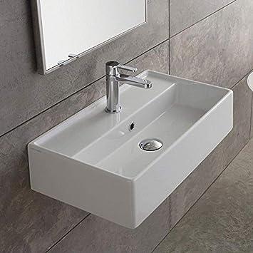 Scarabeo 5002 One Hole Teorema Rectangular Ceramic Wall Mounted Vessel Sink White