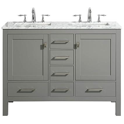 Strange Eviva Evvn412 48Gr Ds Aberdeen 48 Transitional Gray White Carrara Countertop And Double Sinks Bathroom Vanities Download Free Architecture Designs Ferenbritishbridgeorg