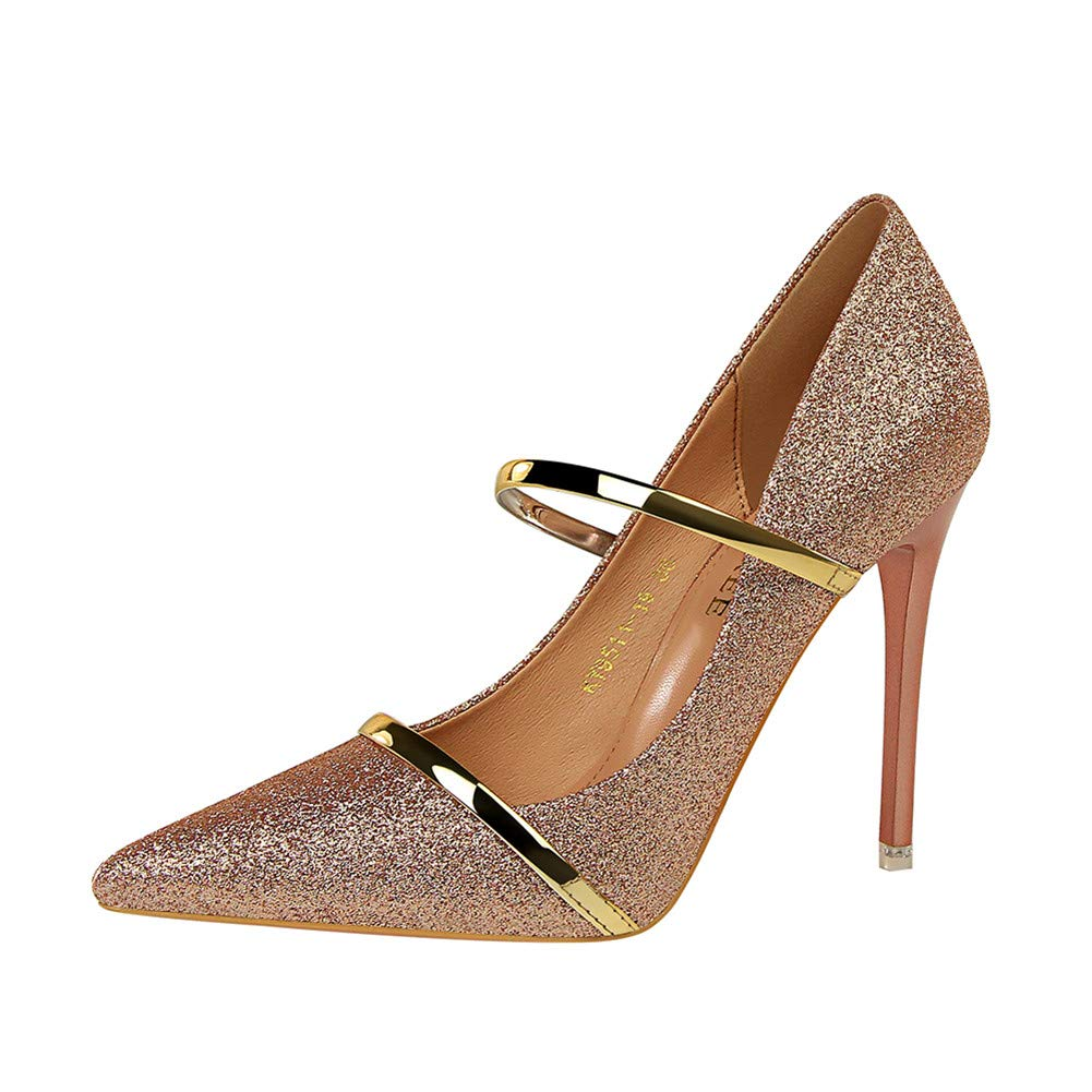 d7f0a372b16f Lxmhz High Heels for Women Sexy Heeled Sandals Ankle Strap Dress Stilettos  Slip-on Sequins Pumps Shoes Suitable for Work