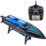 Tuptoel H100 RC Boats Pool Toy for Kids/Adults,High-Speed Radio Remote Control Racing Boat for Pool Lakes-2.4GHz 4CH 180°Flip Reset with LCD Display Controller