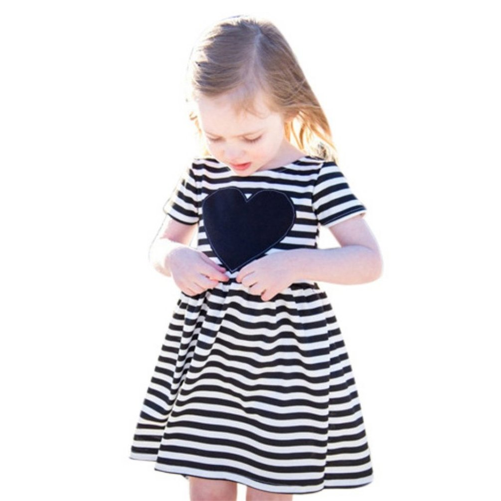 Ponce Fashion Toddler Baby Girl Black Red Plaid Heart Striped Short Sleeve Princess Dress