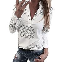 DMZing Blusa Casual con Cuello en V para Mujer, con Estampado de Letras, a la Moda, para Mujer, Oficina, Elegante, para Verano, Primavera, Color Blanco