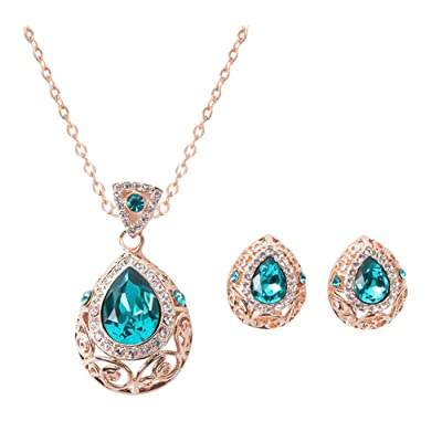 Hosaire Sra Estilo Y Elegante Diamantes De ImitaciÓn De Color Dorado de Emerald Collar De Perlas De Dos Piezas Pendientes Joyas De Novia Regalos De Boda De Novia: Hogar