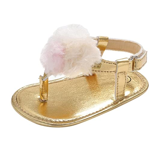 83e32a909 Amazon.com: Moonker Newborn Infant Girl Summer Pompon Soft Sole Anti-Slip  Flat Thong Sandals Toddler Footwear Shoes 0-18Months: Clothing