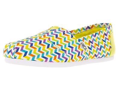 3eb2a4c6e5068 TOMS Classic Shoes 10008013 Multi Canvas Cheveron Yellow Slipper ...