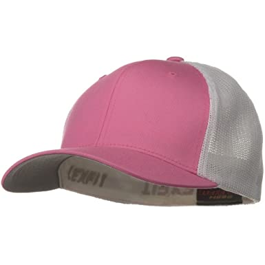 0468ac94305f97 Sonette/Yupoong Flexfit Mesh Cotton Twill Trucker 2 Tone Cap - Pink White  at Amazon Women's Clothing store: Baseball Caps