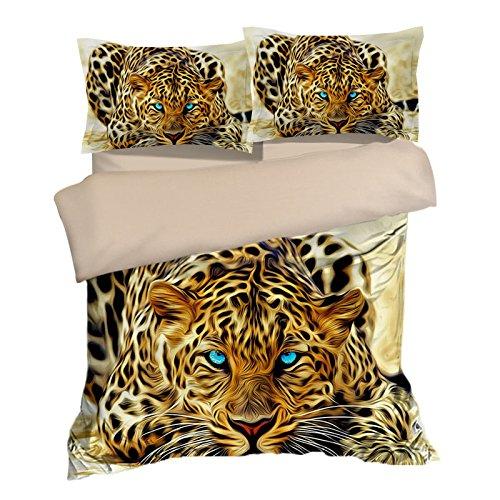 Gorgeous Cheetah Leopard Cotton Microfiber 3pc 104''x90'' Bedding Quilt Duvet Cover Sets 2 Pillow Cases King Size by DIY Duvetcover