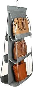 Szxc Hanging Medium Handbag Purse Organizer - with Dual-Sided 6 Clear See-Through Pockets (10 L x 12 W x 6 H) inch - Closet Wardrobe Storage Organization (Gray)