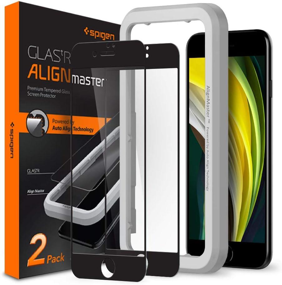 Spigen Tempered Glass Screen Protector [Glas.tR AlignMaster] designed for iPhone SE 2020 - 2 Pack