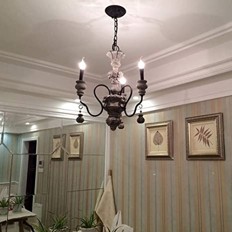 French Country Chandelier With Candle Shaped Industrial