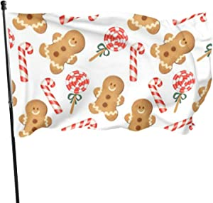 YANGTT Gingerbread Man Candy Cane Holiday Pattern 3x5 Foot Flags Garden Flags,American Flag Patriotic Outdoor Decoration