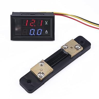 Drok Dc 24v Voltmeter Amperemeter 4 5 30v Voltage Meter 0 50a Current Monitor Led Digital Dual Display Panel Volt Ampere Tester Mit 50a Shunt Für Auto Auto Electrombile Gewerbe Industrie Wissenschaft