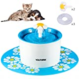 YOUTHINK Auto Circulating BPA Free 1.6L Indoor Water Fountain with 3 Filters, 2 Daisy and 1 Silicone Mat for Dogs and Cats, Blue