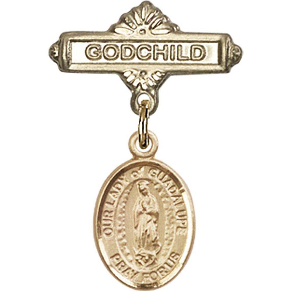 ゴールドFilled Babyバッジwith our Lady of Guadalupe charm and Godchildバッジピン1 x 5 / 8インチ   B00PQ7R8GG