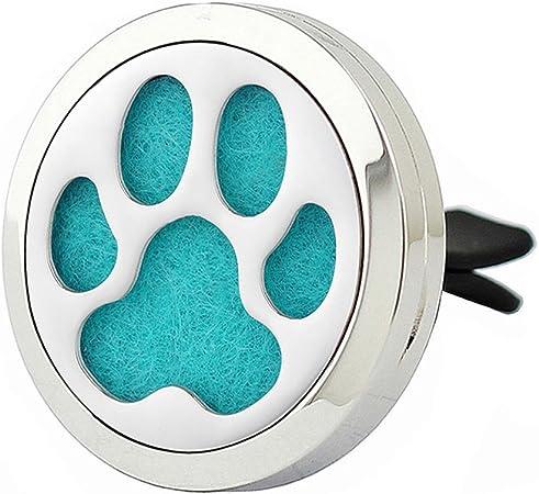 Joymiao Auto Lufterfrischer Aroma Ätherisches Öl Diffusor Medaillon 316l Edelstahl Mit 8 Refill Pads Hund Pfote Auto