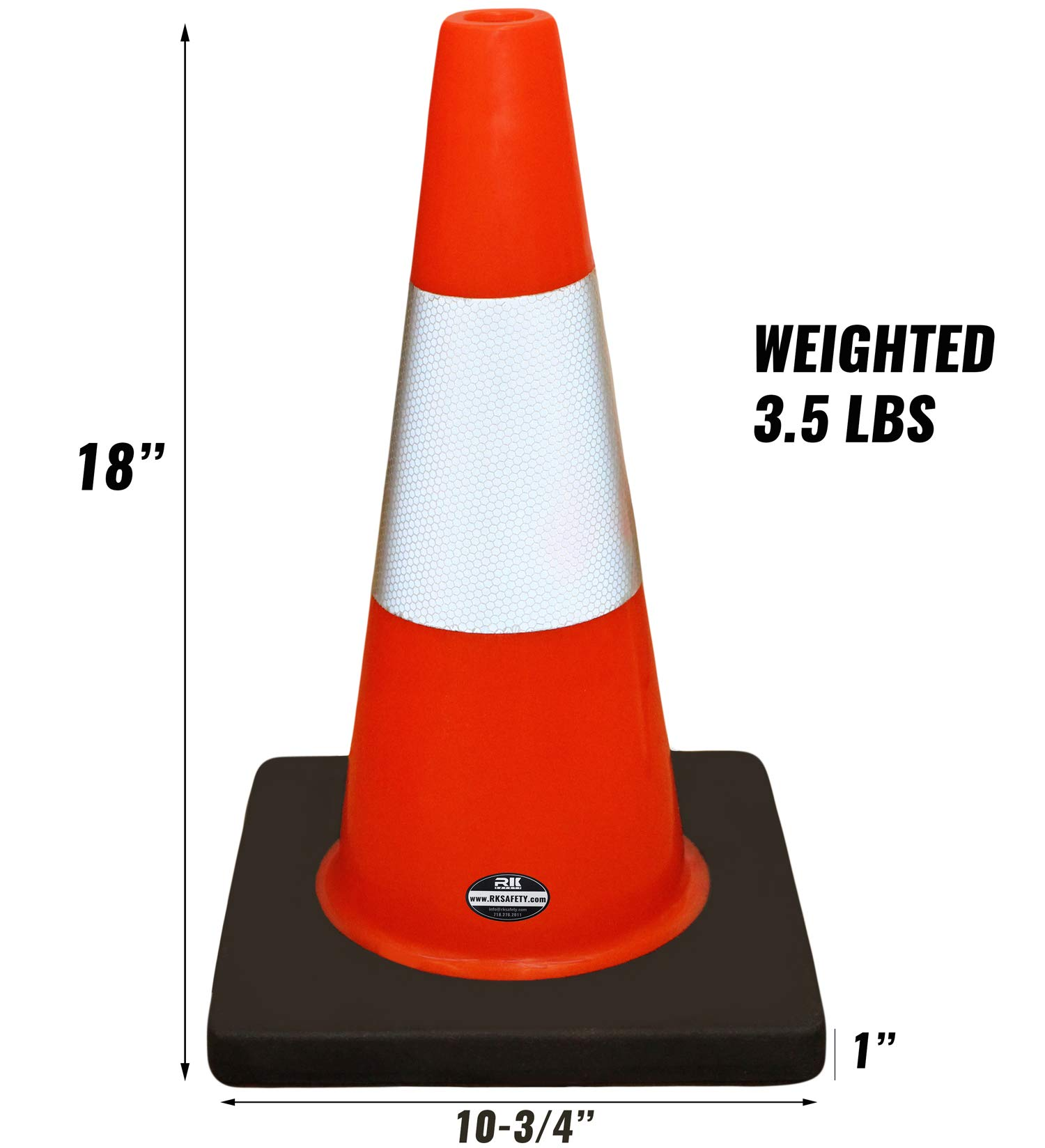 (Set of 6) RK Safety 18'' Orange Traffic PVC Cones with 6'' Reflective Collar, Black Base by RK Safety (Image #3)