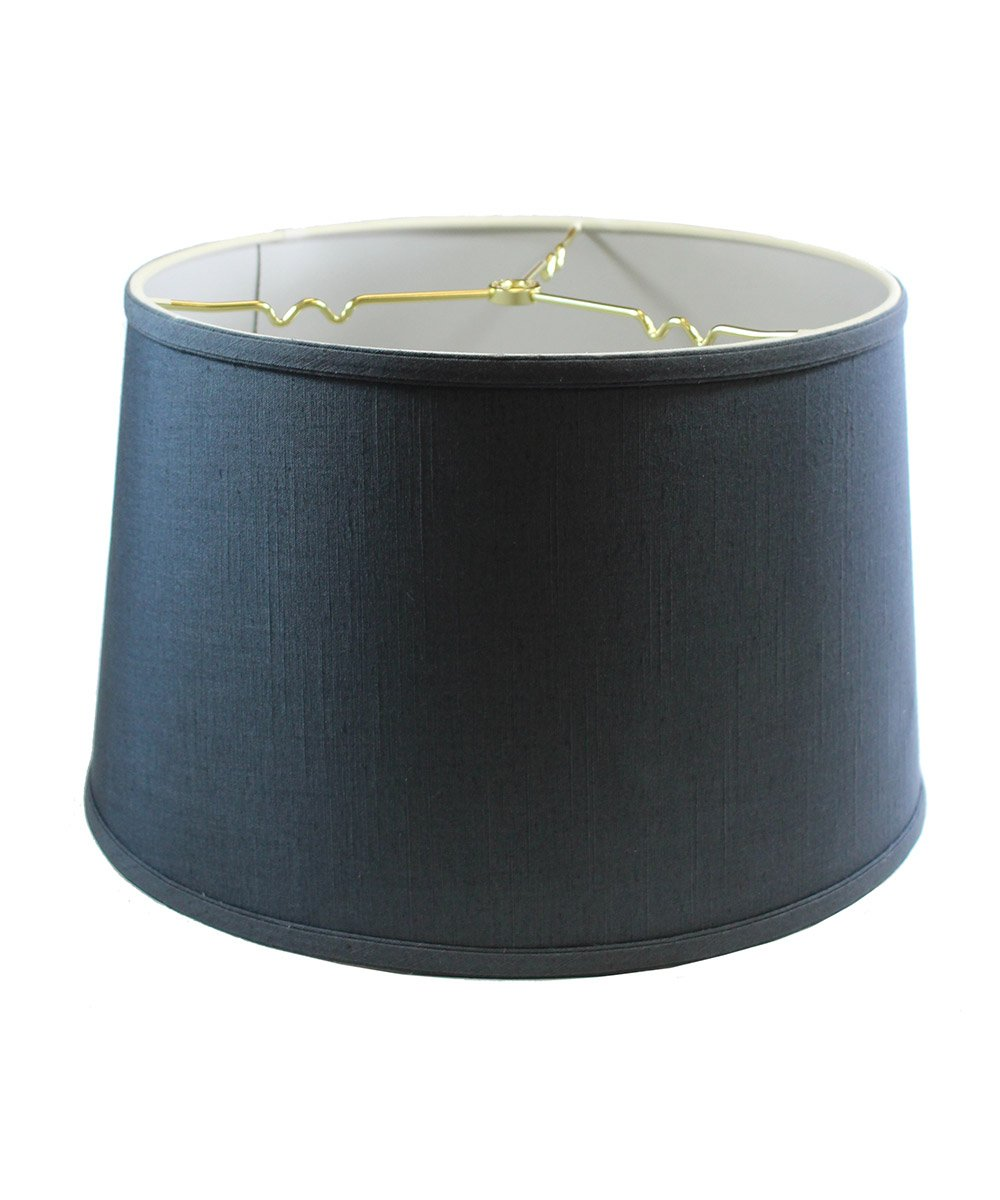 14x16x10 Shallow Drum Hard Back Textured Slate Blue Lampshade with Brass Spider fitter By Home Concept - Perfect for table and Desk lamps - Large, Blue
