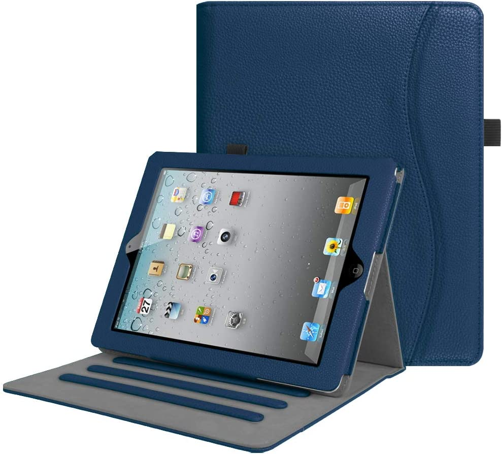 Fintie Case for iPad 2 3 4 (Old Model) 9.7 inch Tablet - [Corner Protection] Multi-Angle Viewing Smart Stand Cover with Pocket, Auto Sleep/Wake for iPad 2/3 & iPad 4th Gen Retina Display, Navy