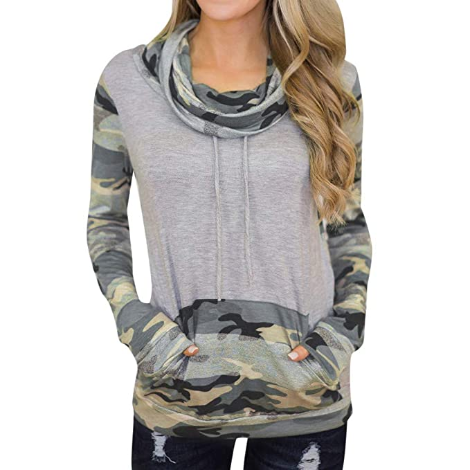 YanHoo Tops de Mujer Suéter Estampado Camuflaje de Mujer Camiseta de ...