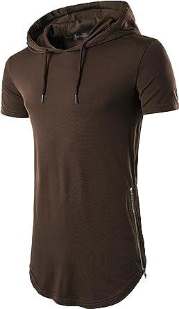 Mens Hooded Long T-Shirt Men Short Sleeve Hip Hop Hoodie Casual Shirts Tees Tops