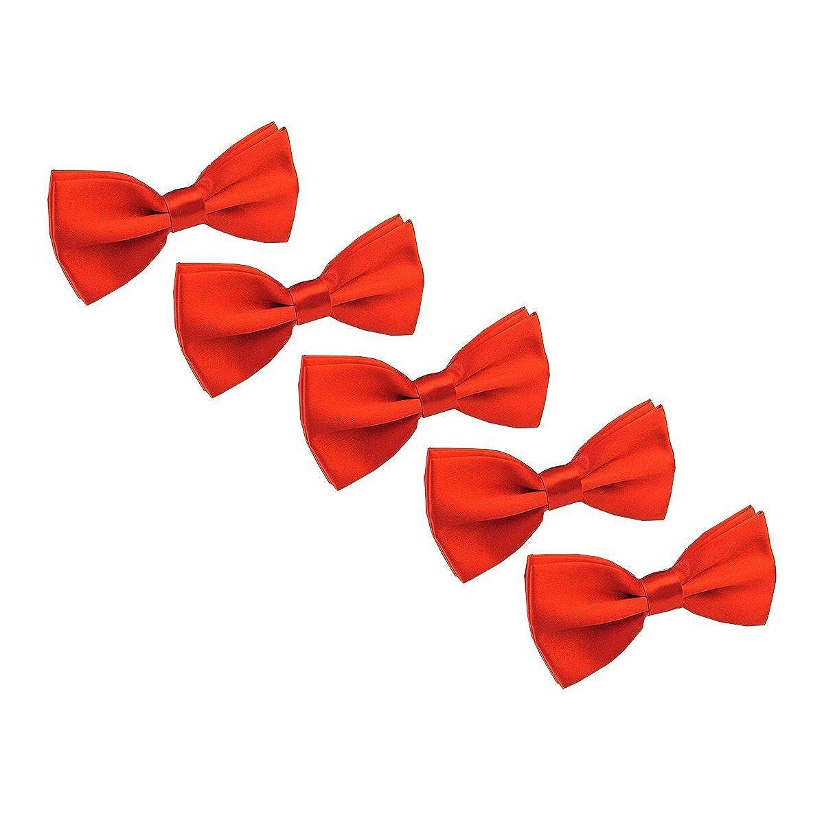 Men Pre tied Adjustable Bowtie Wedding Party Formal solid color Bow Tie 5 Pcs
