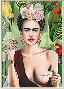 ArtLiving Boho Botanical Floral Drink Coffee Girl Picture Wall Art Print Poster for Home Decor Wall Decor Unframed (40X50 CM)