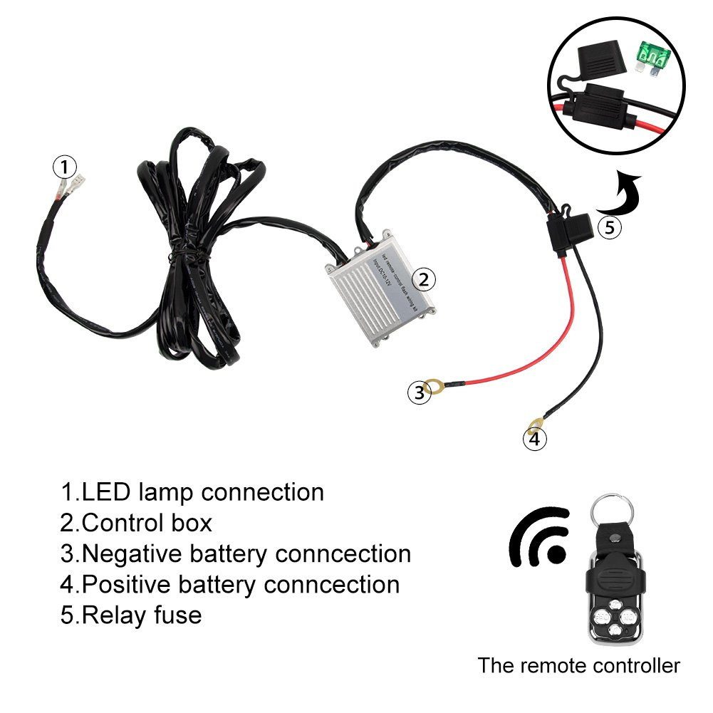 Led Light Bar Wiring Harness Wireless Strobe Kit To Wire A 3 Prong Flasher Diagram On Off Remote Control Switch For Driving Fog Work Light1lead 12ft